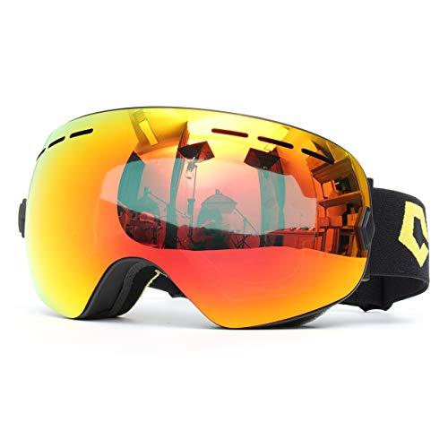 GEMITTO Unisex Professionele dubbele snowboardbril, anti-condens, UV-bestendig, voor heren en dames, kleur zwart frame