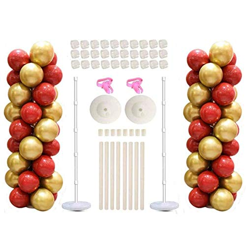 Balloon Columns Kit -2 Sets Balloon Stands For Floor Tower Includding Adjustable 5 Feet Pole Base Birthday Wedding Party Holiday Decorations