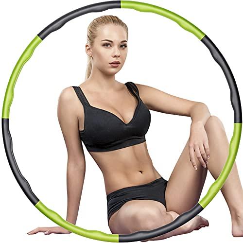 Yestars Fitness Hoop Reifen, Beschwerte Hula-Reifen für Gewichtsverlust und Massage, 8-teilige einstellbare Übung Hoop für Fitness, Training, Sport, zu Hause, Erwachsene Kinder Work Out Gym