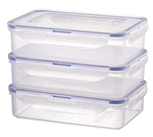 LOCK & LOCK Frischhaltedosen im 3er Set – stapelbare Vorratsdosen aus hochwertigem, transparentem Kunststoff, bpa-frei – auslaufsicher – rechteckig, 3 x 0,8 Liter
