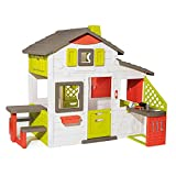 Smoby- Casita Infantil Neo Friends House Con Cocina, 1,72m de Alto, 2 Puertas de Entrada, Timbre Electrónico, Mesita Exterior, Posibilidad de Añadir Múltiples Accesorios, Para Niños a Partir de 3 Años