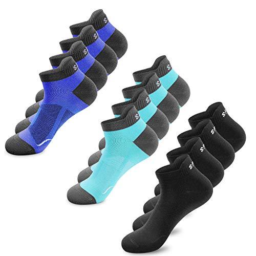 SmartQian Calcetines Cortos deportiva de para Hombre y Mujer, Calcetines Tobilleros Transpirables antiampollas, Pack de 6/12, Negro,Blanco,colores,calcetines running algodón