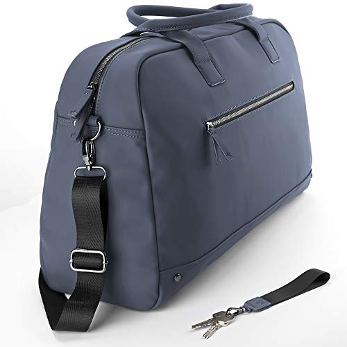 The Friendly Swede The Friendly Swede Weekender Reisetasche für Damen und Herren - Hochwertige Duffle Bag Reisetasche Handgepäck Tasche - VRETA Travel Bag - 35L, Veganes PU (Blau Matt)