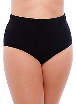 Miraclesuit Women s Plus Size Swimwear Basic Swim Brief Tummy Control High Waist Bathing Suit Bottom Black 16W