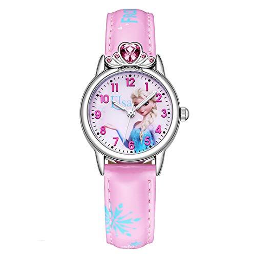 ZZTX FASHION Jungs Mädchen Kinder Analog Quartz Uhr mit Lederriemen Wasserdicht Sport Armbanduhren Cartoon-Uhr, A