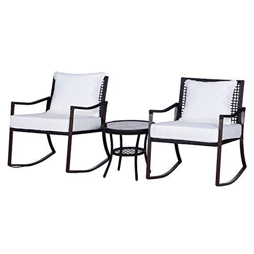 Outsunny Conjunto de Muebles de Ratán para Jardín con Mesa Ø51x46 cm y 2 Sillas Mecedoras 65,5x73,5x84,5 cm con Cojines Lavables y Almohadas Blanco y Marrón