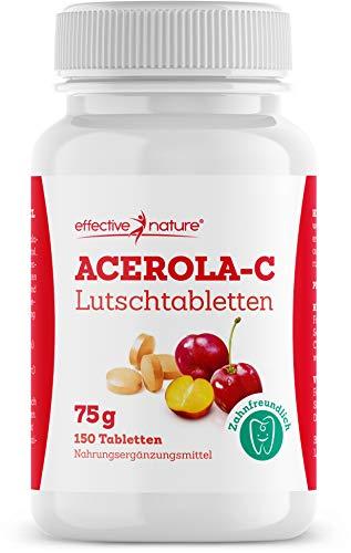 effective nature - Acerola-Lutschtabletten - Deckt den Tagesbedarf an Vitamin C aus der Acerola - Unterstützt die Zahnmineralisierung - Mit Himbeer-Geschmack - 150 Stück