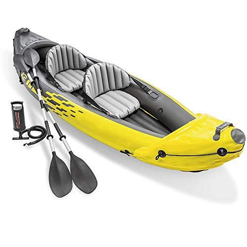 SJCY Inflatable Kayak 2 Person, Kayak Set with Aluminum Oars and High Output Air Pump, 312×91×51CM
