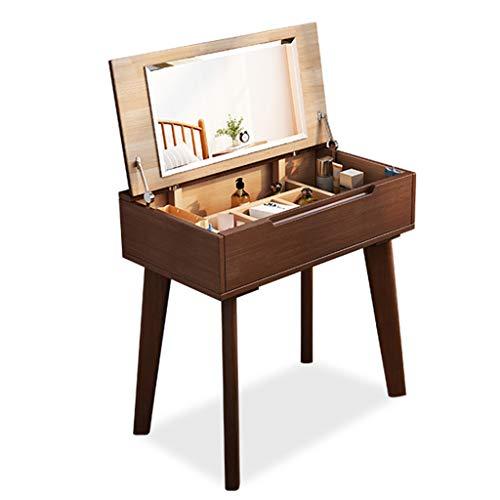 Gsh Mesa de Maquillaje Juego de Mesa de tocador de 60 cm con Espejo abatible Muebles de Dormitorio Niñas Maquillaje Tocador Escritorio Escritorio Fácil Montaje Color Madera, Color Nogal