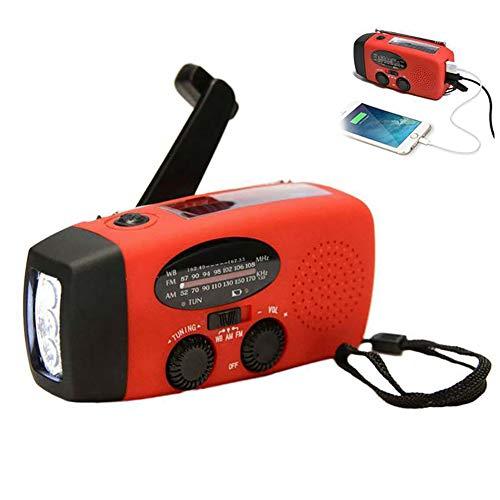 Hihey Solar Radio met handslinger zwengeldynamo LED zaklamp noodgevallen powerbank USB mobiele telefoon oplader zwengelradio FM/AM noodradio voor kamperen, wandelen