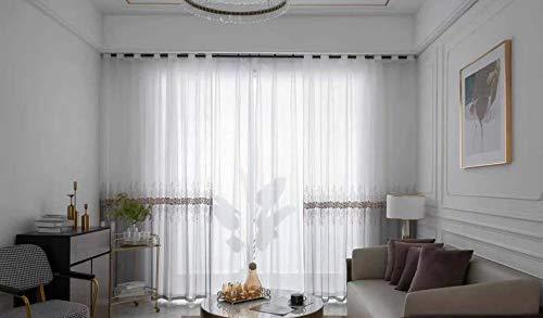 Lactraum Tenda da soggiorno Ricamata Ricamata con gradiente di colore caffè, fiori in voile con...