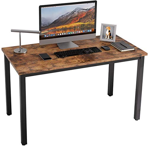 Computer Desk, APOWE Industrial Writing Desk, Home Office Desk, PC Laptop Study Workstation for Home Office, Living Room, Dining Table - Rustic Brown Tabletop with Sturdy Metal Frame - Easy Assembly