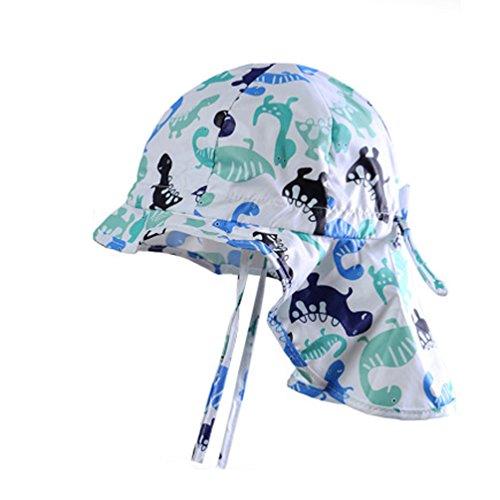 iisport Sommermütze Jungen mit Nackenschutz, Baby Sonnenhut mit Kinnband, UV-Schutz 30+/Kopfumfang verstellbar/Weiß/51