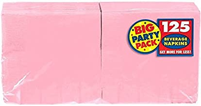 "Amscan Big Party Pack Beverage Napkins, 6.5"" x 6.5"", Pink"