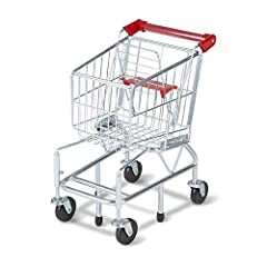 SMOOTH-ROLLING MINI SHOPPING CART: This mini shopping cart features front, spring-loaded safety wheels that pivot 360 degrees, which permits it to roll easily on multiple surfaces inside the home. Made to last: the Melissa & Doug toy shopping cart wi...