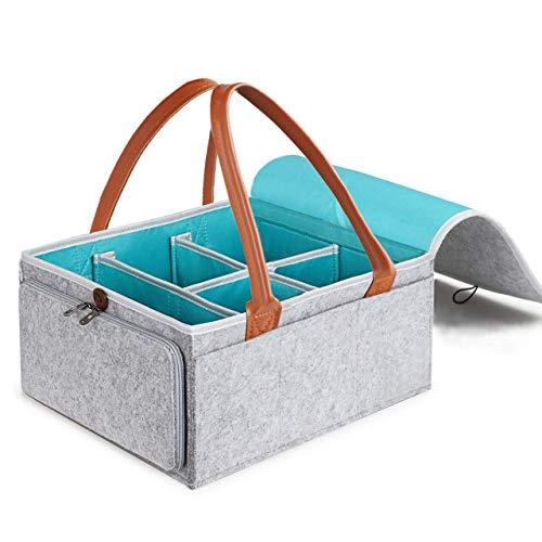 Windeltasche für Unterwegs Baby Wickel Organizer Tasche Windel Caddy Organizer Filzkorb Aufbewahrungsbox mit Leder Griff