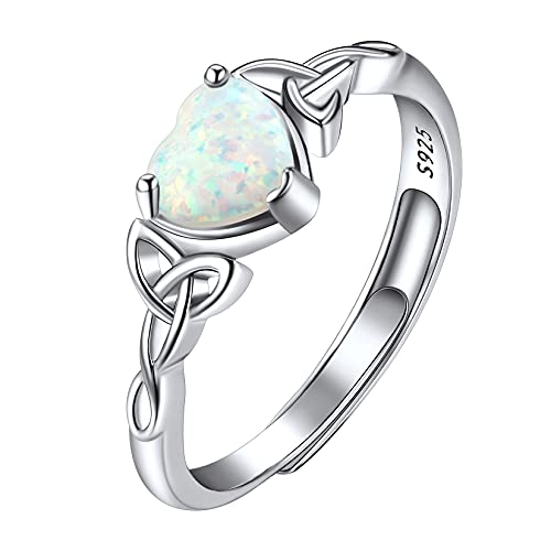 Suplight 925 Sterling Silver Adjustable Stackable Simulated Opal Irish Celtic Knot Heart Shape Promise Engagement Rings for Women Girls