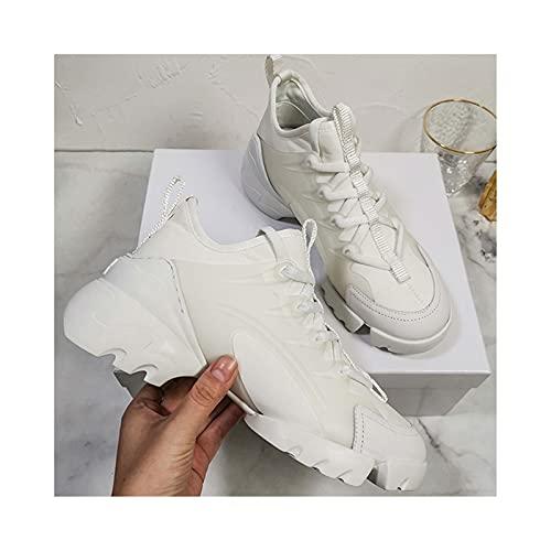 HaoLin Calzado Casual Zapatillas de Deporte Calzado para Caminar Zapatillas Deportivas Clásicas,White-37 EU