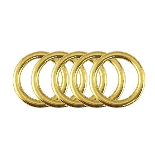 PROTEUS R&er Ring aus massivem Messing für Gurtband, Umreifung von Sattlerwaren, Flachkordeln, Gürtel, Lederwaren, 5 Stück (innen 2,8 cm - 1 1/8 Zoll)