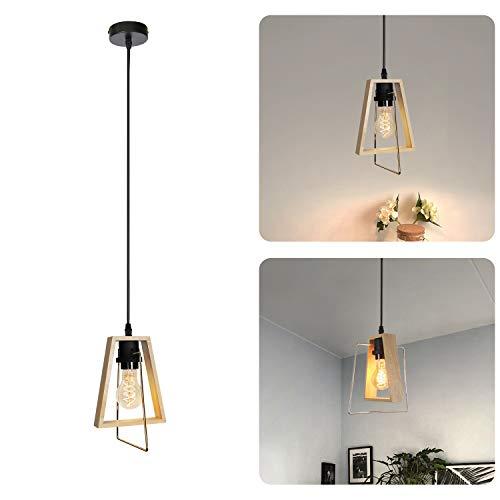 GBLY Lampara colgante de madera mesa de comedor lampara colgante de altura ajustable E27 moderna lampara de comedor decorativa para sala de estar dormitorio cocina (bombillas no incluidas)