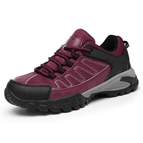 FOGOIN Wanderschuhe Herren Damen Leicht Low Trekkingschuhe rutschfest Atmungsaktiv Outdoor Walking Schuhe Sportlich Trekking-& Wanderhalbschuhe, Rose, Gr.40