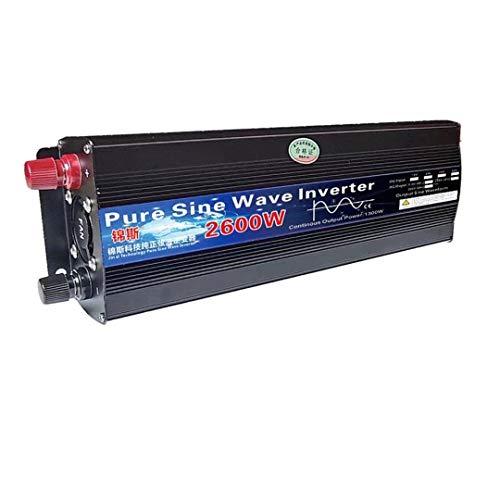 Inversor de Onda sinusoidal Pura 12V / 24V 220V 1000W 2000W 2600W Transformador de Voltaje inversor DC12V AC 220V Convertidor LED Pantalla (Color : 2600W, Input Voltage : 12V)