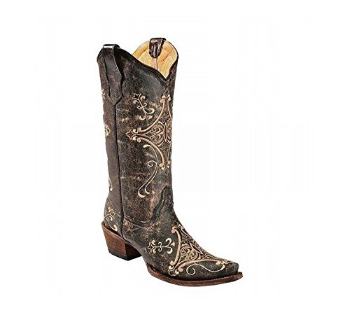 New Circle G By Corral Women's Scroll Embroidery Western Boots Black Crackle/Bone 9.5