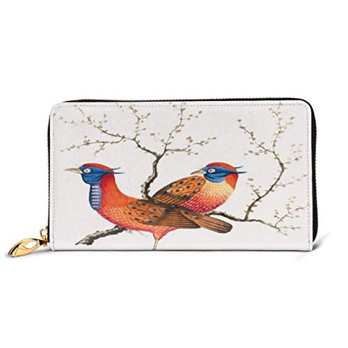 Women's Long Leather Card Holder Purse Zipper Buckle Elegant Clutch Wallet, Cute Bird Silhouettes On Flowering Branches Nature Themed Animal Art,Sleek and Slim Travel Purse
