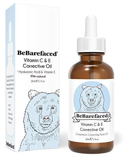 BeBarefaced Vitamin E Öl Nacht Elixier Gesichtsöl Mit Hyaluronsäure und Vitamin C - Hybrid Anti Aging Ölbasis Serum für alle Hauttypen - Vegane Schönheitsprodukte