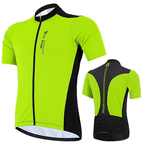 West Biking Herren Radtrikot Kurzarm, Fahrradtrikot Radsport T-Shirt mit 3 Rückentaschen, Atmungsaktives Sommer Fahrrad Trikot Schnelltrockend Trek Radtrikot Fahrradbekleidung, Grün, XL