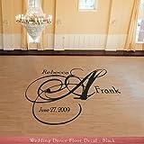 Swirly Monogram Initial Wedding Reception Dance Floor Vinyl Decal (W-009) - Back40Life
