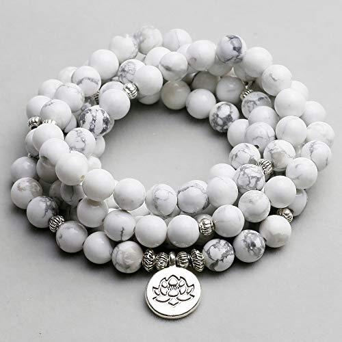 Pulsera de mujer Cuentas de Howlita blancas con Lotus OM Buddha Charm Yoga Pulsera de hombre 108 Collar Mala Joyería de piedra