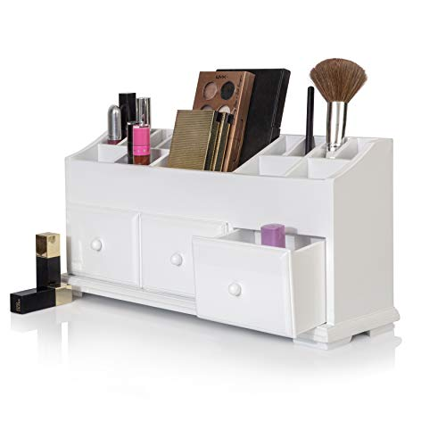 Vanity Drawer Beauty Organizer 3 Drawers - Wooden Cosmetic Storage Box for Neat & Organize Storing of Makeup Tools, Small Accessories at Home & Office Vanities & Bathroom Counter-top (White)