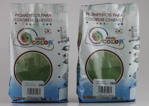 KITS dos bolsas de 500 g. Easy Color pigmento Verde 266. Pigmento para cemento, mortero y hormigón. (Verde)