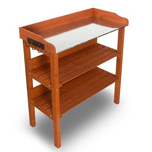 nxtbuy Pflanztisch Classic mit verzinkter Metall Arbeitsplatte - wetterfester Gartentisch aus imprägniertem Holz - Gärtnertisch mit Schublade...