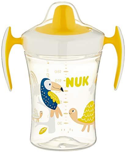 NUK Trainer Cup Trinklernbecher, weiche Trinktülle, auslaufsicher, 6+ Monate, BPA-frei, 230ml, gelb, weiß