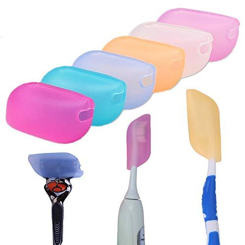 sinzau 6 Stück Silikon Zahnbürstenabdeckung Hygienisch Antimikrobiell Zahnbürstenhalter für Camping Reisen