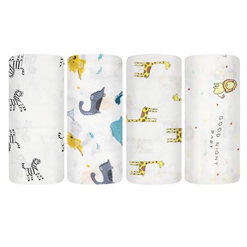 XMWEALTHY 4 Packs Baby Muslin Swaddle Blankets Sets 47'x 47' Unisex Swaddle Wraps for Girls Boys Baby Receiving Blankets Large Ideal Newborn Swaddling Sets Giraffe/Lion/Zebra/Dinosaur