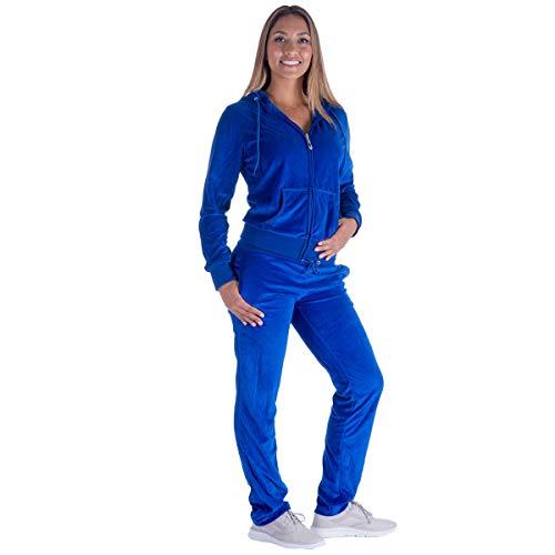 Womens Sweatsuit Velour Royal Soft Active Hooded Sweatshirt & Jogger Pants Sports Set Blue L