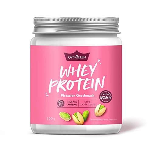 GymQueen Whey Protein-Pulver Pistazie 500g, Protein-Shake für die Fitness, Whey-Pulver kann den Muskelaufbau unterstützen, Hochwertiges Eiweiss-Pulver mit 73g Eiweiß, ohne Zuckerzusatz