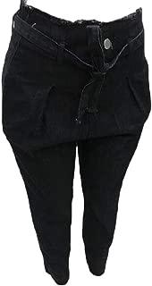 Women's Jeans Casual Trouser Paper Bag Pants Elastic Waist Demin Ankle Pants