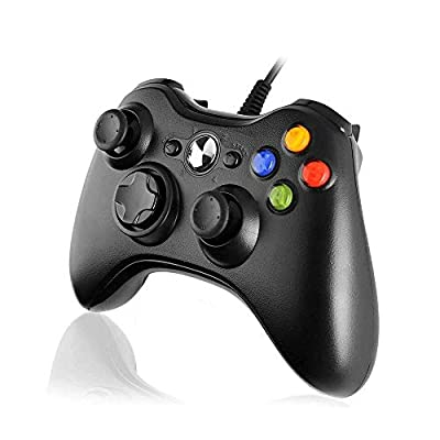 Cypin Xbox 360 Controller, Xbox 360 Wired Gamepad Joystick with Dual-Vibration Turbo and Trigger Buttons for Xbox 360 Console, Window 7, 8, 10, XP
