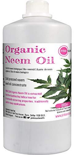 PINK SUN Aceite de Neem Puro Orgánico 1 Litro Virgen Prensado en Frío Sin Refinar 1 Litre 1000ml Pure Neem Oil Cold Pressed 1L