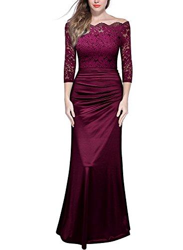 MIUSOL Damen Elegant Cocktailkleid Spitzen Vintage Kleid Off Schulter Brautjungfer Langes Abendkleid Weinrot XXL