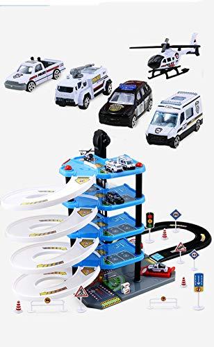 AOTE-D Alliage De Camion Pompiers Multicouche Parking Lot Jouet Panneau Signalisation Routière Garçon Fille Puzzle Cadeau d'anniversaire Jouet Camion Toys Vehicules Coffret Véhicule Construction,Blue
