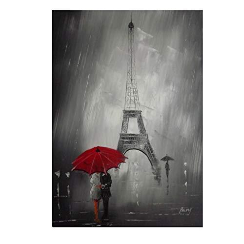 Liefhebbers Onder De Rode Paraplu Wandelen naar Beroemde Toren Poster Schilderen Op Doek Wandkunst Foto's Kamerdecoratie -60x90cm Geen Frame