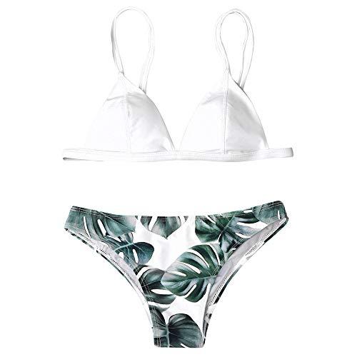 Fossen Bikinis Mujer 2020 Brasileños Push up - Estampado de Hojas Traje de Baño de Dos Piezas, Bañador de Playa
