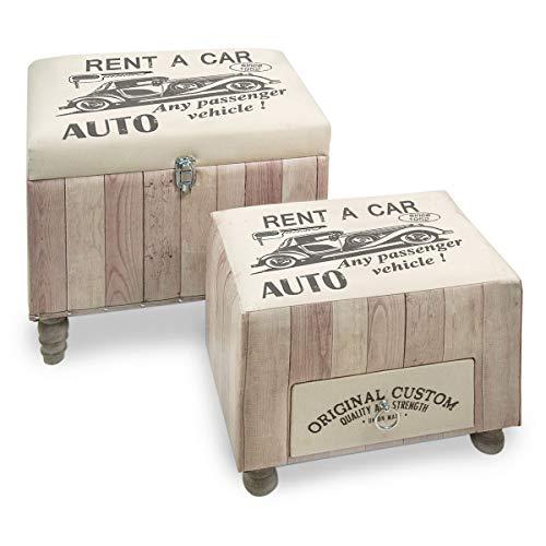 Set Caja Taburete Decorativo x2 Madera Polipiel Garaje Vintage Coche Antiguo Almacenaje 2 Tamaños