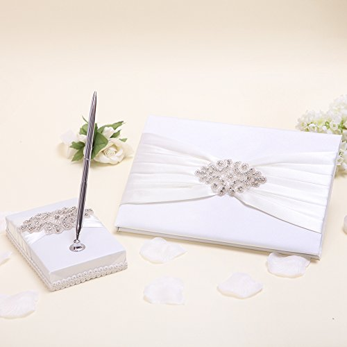 KateMelon Ivory Luxe Crystal Wedding Guest Book and Pen Set