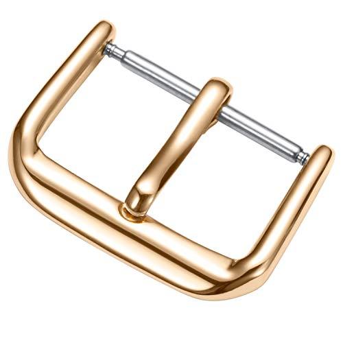 BINLUN Hebilla de Repuesto Pulida con Hebilla de Acero Inoxidable para Correa de Reloj 8mm/10mm/12mm/14mm/16mm/18 mm/20mm/22mm/24mm Negro Plata Oro Oro Rosa